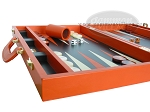 picture of Zaza & Sacci Leather Backgammon Set - Model ZS-501 - Medium - Orange (5 of 12)