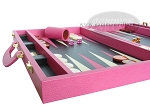 picture of Zaza & Sacci® Leather Backgammon Set - Model ZS-501 - Medium - Pink (5 of 12)