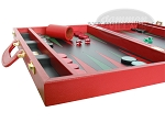 picture of Zaza & Sacci® Leather Backgammon Set - Model ZS-501 - Medium - Red (5 of 12)