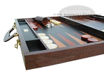 picture of Zaza & Sacci Leather Backgammon Set - Model ZS-612 - Large - Brown Croco (5 of 12)