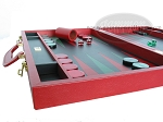 picture of Zaza & Sacci Leather Backgammon Set - Model ZS-612 - Large - Red (5 of 12)
