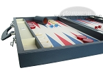picture of Zaza & Sacci Leather/Microfiber Backgammon Set - Model ZS-760 - Large - Blue (5 of 12)