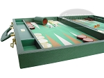 picture of Zaza & Sacci Leather/Microfiber Backgammon Set - Model ZS-760 - Large - Green (5 of 12)