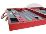 picture of Zaza & Sacci Leather/Microfiber Backgammon Set - Model ZS-760 - Large - Red (5 of 12)