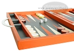 picture of Zaza & Sacci Leather Backgammon Set - Model ZS-200 - Travel - Orange (5 of 11)