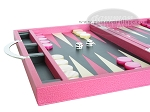 picture of Zaza & Sacci® Leather Backgammon Set - Model ZS-200 - Travel - Pink (5 of 12)