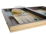 picture of 19-inch Inlaid Oak Folding Wood Backgammon Set - Green (5 of 10)