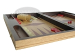picture of 19-inch Inlaid Oak Folding Wood Backgammon Set - Red (5 of 10)
