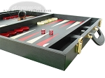 picture of Zaza & Sacci® Leather Backgammon Set - Model ZS-501 - Medium - Black (6 of 12)