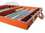 picture of Zaza & Sacci Leather Backgammon Set - Model ZS-501 - Medium - Orange (6 of 12)