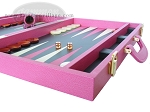 picture of Zaza & Sacci® Leather Backgammon Set - Model ZS-501 - Medium - Pink (6 of 12)