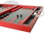 picture of Zaza & Sacci® Leather Backgammon Set - Model ZS-200 - Travel - Red (6 of 12)