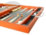 picture of Zaza & Sacci® Leather Backgammon Set - Model ZS-200 - Travel - Orange (6 of 11)