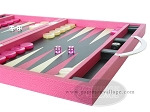 picture of Zaza & Sacci Leather Backgammon Set - Model ZS-200 - Travel - Pink (6 of 12)
