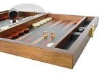Zaza & Sacci® Folding Wood Backgammon Set - Model ZS-004 - Medium - Leather/Mahogany