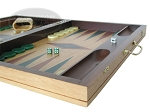 picture of 19-inch Inlaid Oak Folding Wood Backgammon Set - Green (6 of 10)