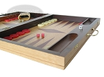 picture of 19-inch Inlaid Oak Folding Wood Backgammon Set - Red (6 of 10)