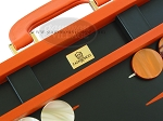 picture of Zaza & Sacci Leather Backgammon Set - Model ZS-501 - Medium - Orange (7 of 12)