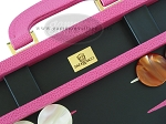 picture of Zaza & Sacci Leather Backgammon Set - Model ZS-501 - Medium - Pink (7 of 12)