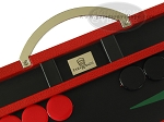 Zaza & Sacci® Leather Backgammon Set - Model ZS-200 - Travel - Red