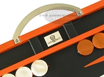 picture of Zaza & Sacci Leather Backgammon Set - Model ZS-200 - Travel - Orange (7 of 11)