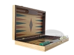 picture of 19-inch Inlaid Oak Folding Wood Backgammon Set - Green (7 of 10)
