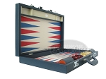 picture of Zaza & Sacci Leather/Microfiber Backgammon Set - Model ZS-760 - Large - Blue (8 of 12)