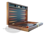 picture of Zaza & Sacci® Folding Wood Backgammon Set - Model ZS-008 - Large - Leather/Mahogany (8 of 12)