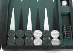 picture of Marcello de Modena Leather Backgammon Set - Model MM-621 - Large - Croco Black (8 of 12)