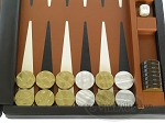 picture of Marcello de Modena Leather Backgammon Set - Model MM-642 - Large - Brown (8 of 12)