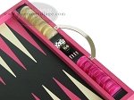 picture of Zaza & Sacci Leather Backgammon Set - Model ZS-200 - Travel - Pink (9 of 12)