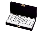 DOUBLE 6 White Dominoes Set - With Spinners - Velvet Box - Item: 2656