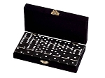 DOUBLE 6 Black Dominoes Set - With Spinners - Velvet Box