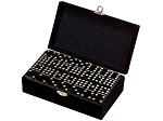 DOUBLE 9 Black Dominoes Set - With Spinners - Velvet Box - Item: 2674