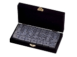 DOUBLE 6 Silver Dominoes Set - Velvet Box - Item: 2659