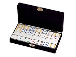 DOUBLE 6 White Dominoes Set - Colored Dots - With Spinners - Velvet Box - Item: 2658