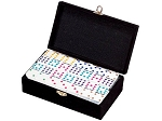 DOUBLE 9 White Dominoes Set - Colored Dots - With Spinners - Velvet Box - Item: 2673
