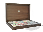 Double 9 Bicolor Dominoes in Briar Wood Box - Item: 2005