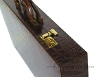 picture of Zaza & Sacci® Leather Backgammon Set - Model ZS-612 - Large - Brown Croco (10 of 12)