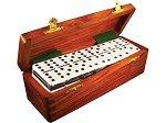 DOUBLE 6 Two-Tone Black + White Dominoes Set - With Spinners - Wood Box - Item: 2669