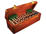 DOUBLE 6 Black Dominoes Set - With Spinners - Wood Box - Item: 2663