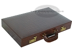 picture of Zaza & Sacci Leather Backgammon Set - Model ZS-612 - Large - Brown Croco (11 of 12)