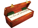 DOUBLE 6 White Dominoes Set - With Spinners - Wood Box - Item: 2664