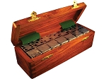 DOUBLE 6 Silver Dominoes Set - Wood Box - Item: 2667