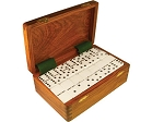 DOUBLE 9 White Dominoes Set - With Spinners - Wood Box - Item: 2676