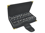 DOUBLE 6 Black Dominoes Set - With Spinners - Leather Box