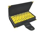 DOUBLE 6 Yellow Dominoes Set - With Spinners - Leather Box - Item: 2970
