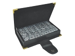 DOUBLE 6 Silver Dominoes Set - Leather Box - Item: 2968