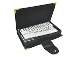 DOUBLE 6 Two-Tone Black + White Dominoes Set - With Spinners - Leather Box - Item: 2962