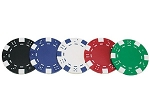 12gram Dice with Stripes Patterned Poker Chips - Roll of 50 - Item: 1341